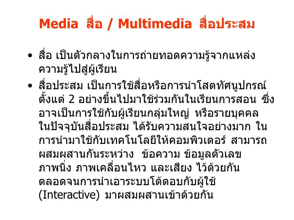 Media สื่อ / Multimedia สื่อประสม สื่อ เป็นตัวกลางในการถ่ายทอดความรู้จากแหล่ง ความรู้ไปสู่ผู้เรียน สื่อประสม เป็นการใช้สื่อหรือการนำโสตทัศนูปกรณ์ ตั้ง