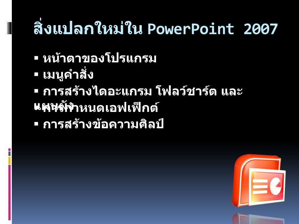 การเข้าสู่โปรแกรม PowerPoint 2007  สามารถเข้าสู่โปรแกรมได้ โดยมีขั้นตอน ดังนี้  คลิกปุ่ม (Start)  เลือก All programs  เลือก Microsoft Office  คลิกเลือก Microsoft Office PowerPoint 2007 เพื่อเข้าสู่กระบวนการทำงานของ โปรแกรม
