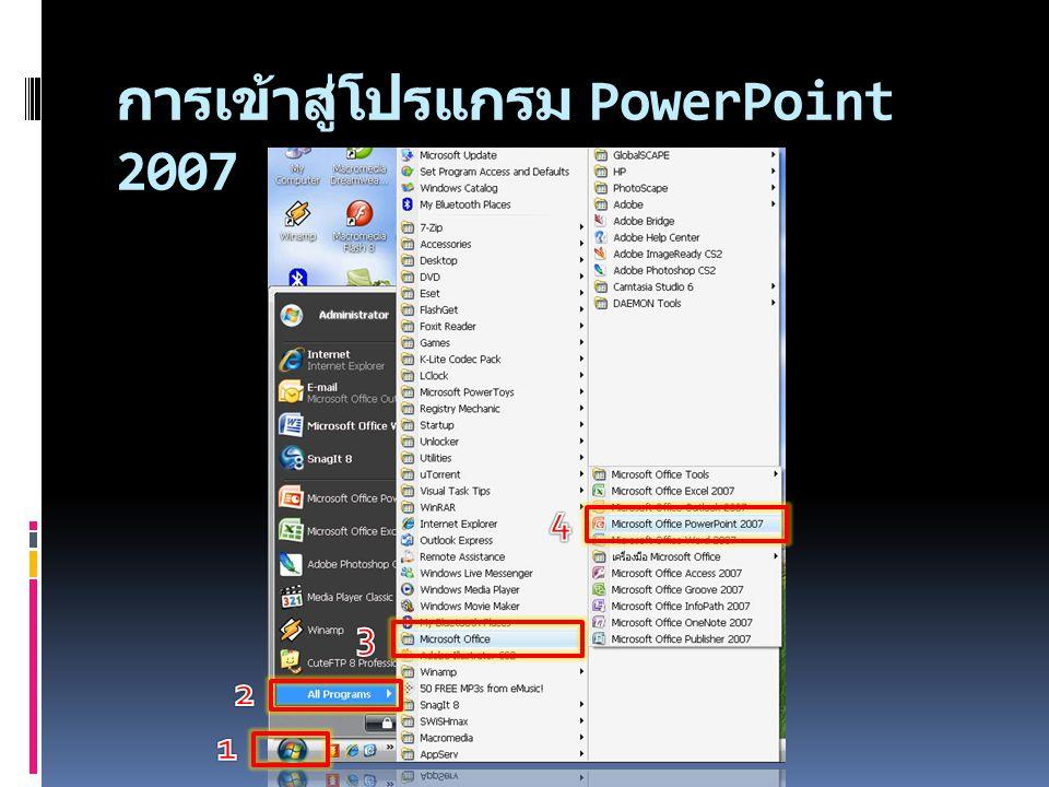 การสร้างงานนำเสนอใน PowerPoint 2007 สุภัทรา สุวรรณหงษ์