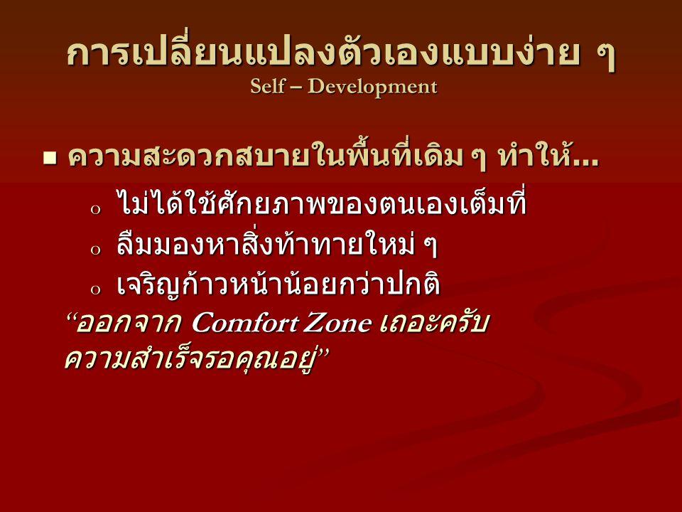 การเปลี่ยนแปลงตัวเองแบบง่าย ๆ Self – Development o ไม่ได้ใช้ศักยภาพของตนเองเต็มที่ o ลืมมองหาสิ่งท้าทายใหม่ ๆ o เจริญก้าวหน้าน้อยกว่าปกติ ความสะดวกสบายในพื้นที่เดิม ๆ ทำให้...