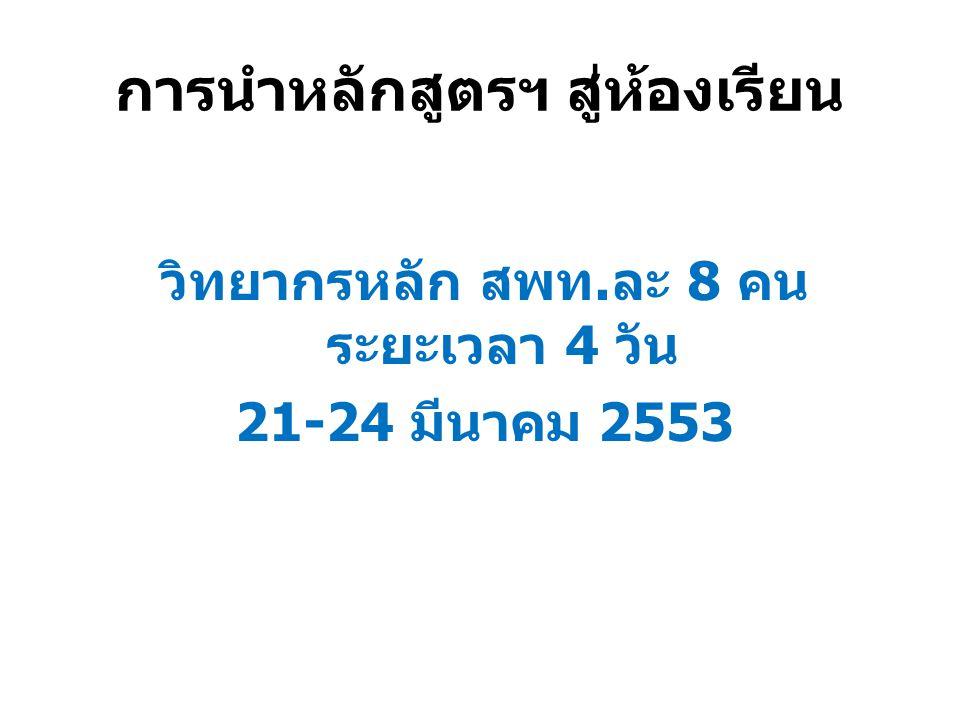 การนำหลักสูตรฯ สู่ห้องเรียน วิทยากรหลัก สพท.ละ 8 คน ระยะเวลา 4 วัน 21-24 มีนาคม 2553