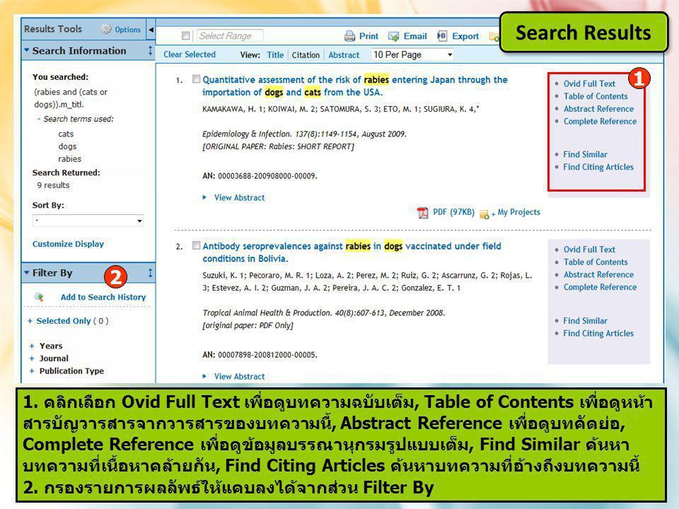 1 1. คลิกเลือก Ovid Full Text เพื่อดูบทความฉบับเต็ม, Table of Contents เพื่อดูหน้า สารบัญวารสารจากวารสารของบทความนี้, Abstract Reference เพื่อดูบทคัดย