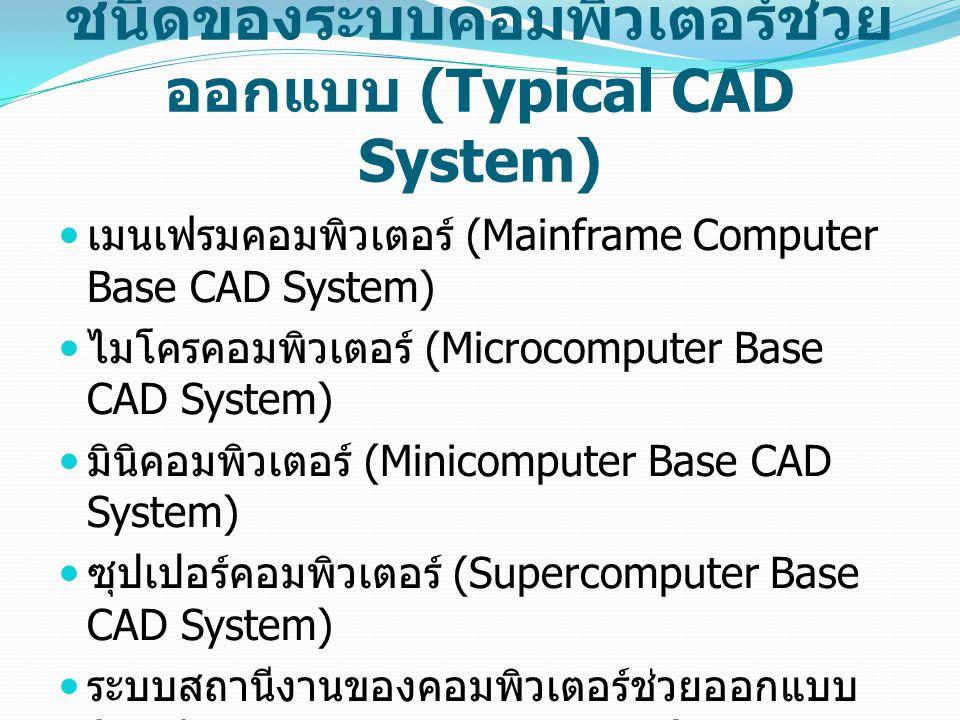ชนิดของระบบคอมพิวเตอร์ช่วย ออกแบบ (Typical CAD System) เมนเฟรมคอมพิวเตอร์ (Mainframe Computer Base CAD System) ไมโครคอมพิวเตอร์ (Microcomputer Base CA