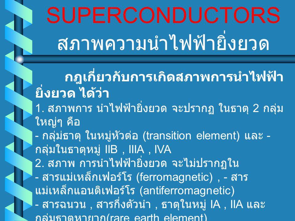 SUPERCONDUCTORS ค่าสนามแม่เหล็กวิกฤติ จากการ ผ่าน สนามแม่เหล็ก ไปยัง ตัวนำ ไฟฟ้ายิ่งยวด ออนเนส พบว่า สนามแม่เหล็ก สามารถ ทำลายสภาพ การนำ ไฟฟ้า ยิ่งยวด ให้ กลายเป็น สภาพปกติ (normal state) ได้ค่า สนามแม่เหล็ก ที่น้อยที่ สุด สามารถ ทำลาย สภาพการนำไฟฟ้า ยิ่งยวด ได้พอดี จะเรียกว่า สนามแม่เหล็กวิกฤติ (Critical magnetic field) สนามแม่เหล็ก วิกฤติ จะขึ้น กับอุณหภูมิ ด้วย คือที่ อุณหภูมิ วิกฤติ ค่า สนามแม่เหล็กวิกฤติ จะเป็นศูนย์