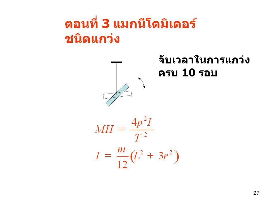 26 ตอนที่ 2 แมกนีโตมิเตอร์ชนิดบ่ายเบน broad side pososition N S N S d d  =   /8 M/H =(d 2 +l 2 ) 3/2 tan  11 22 N S