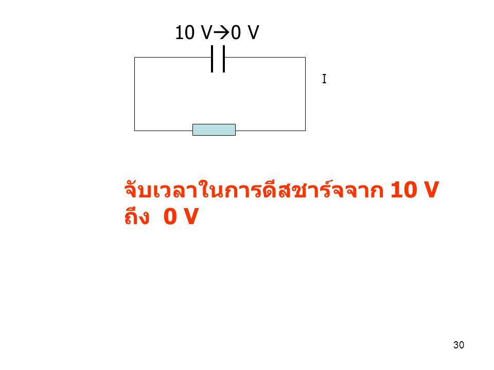29 10. วงจร RC เพื่อหาค่า time constant ของวงจร จับเวลาในการชาร์จจาก 0 V ถึง ~10 V 0 V  <10 V R=2200  C=4700 uF V