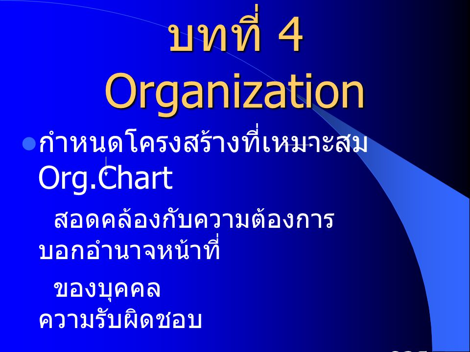 บทที่ 4 Organization กำหนดโครงสร้างที่เหมาะสม Org.Chart สอดคล้องกับความต้องการ บอกอำนาจหน้าที่ ของบุคคล ความรับผิดชอบ การ ติดต่อสื่อสาร การ ประสานงาน