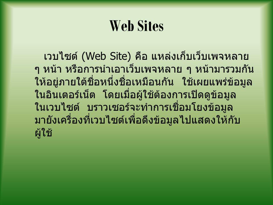 Web Sites เวบไซต์ (Web Site) คือ แหล่งเก็บเว็บเพจหลาย ๆ หน้า หรือการนำเอาเว็บเพจหลาย ๆ หน้ามารวมกัน ให้อยู่ภายใต้ชื่อหนึ่งชื่อเหมือนกัน ใช้เผยแพร่ข้อม