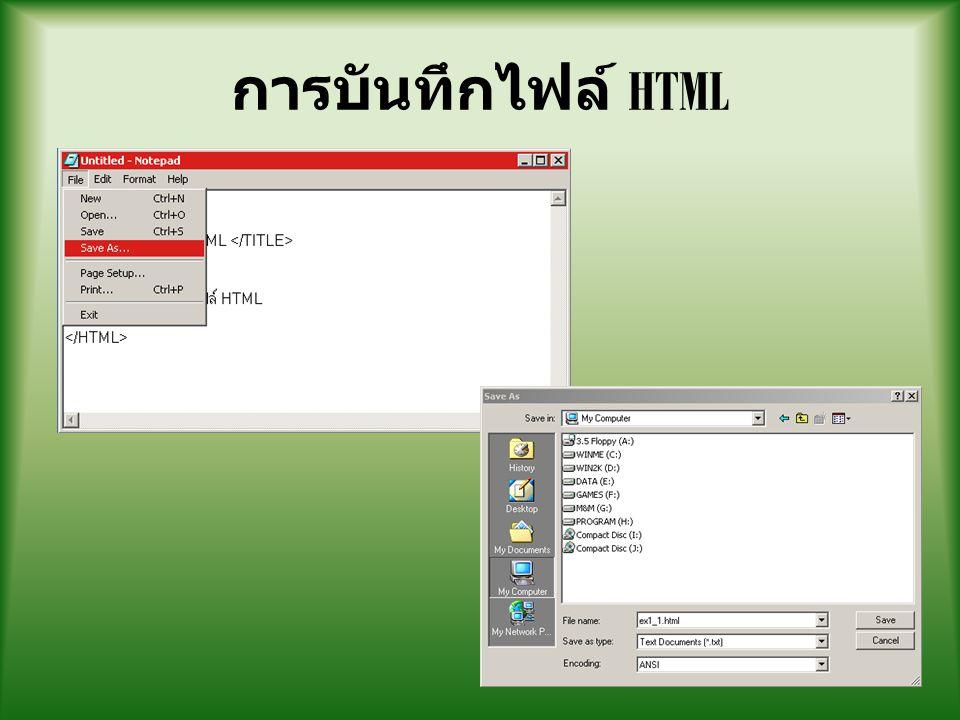 การเปิดไฟล์ HTML 1 2 3
