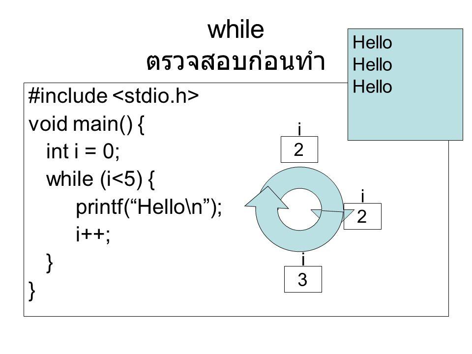 "#include void main() { int i = 0; while (i<5) { printf(""Hello\n""); i++; } Hello i 2 i 2 i 3 while ตรวจสอบก่อนทำ"