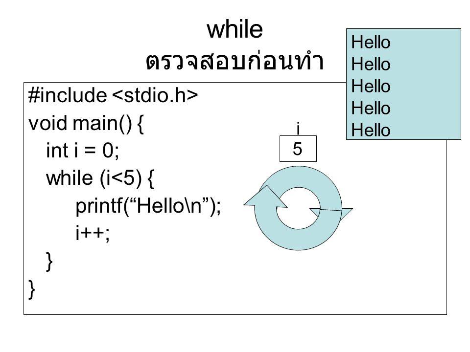 "#include void main() { int i = 0; while (i<5) { printf(""Hello\n""); i++; } Hello i 5 while ตรวจสอบก่อนทำ"