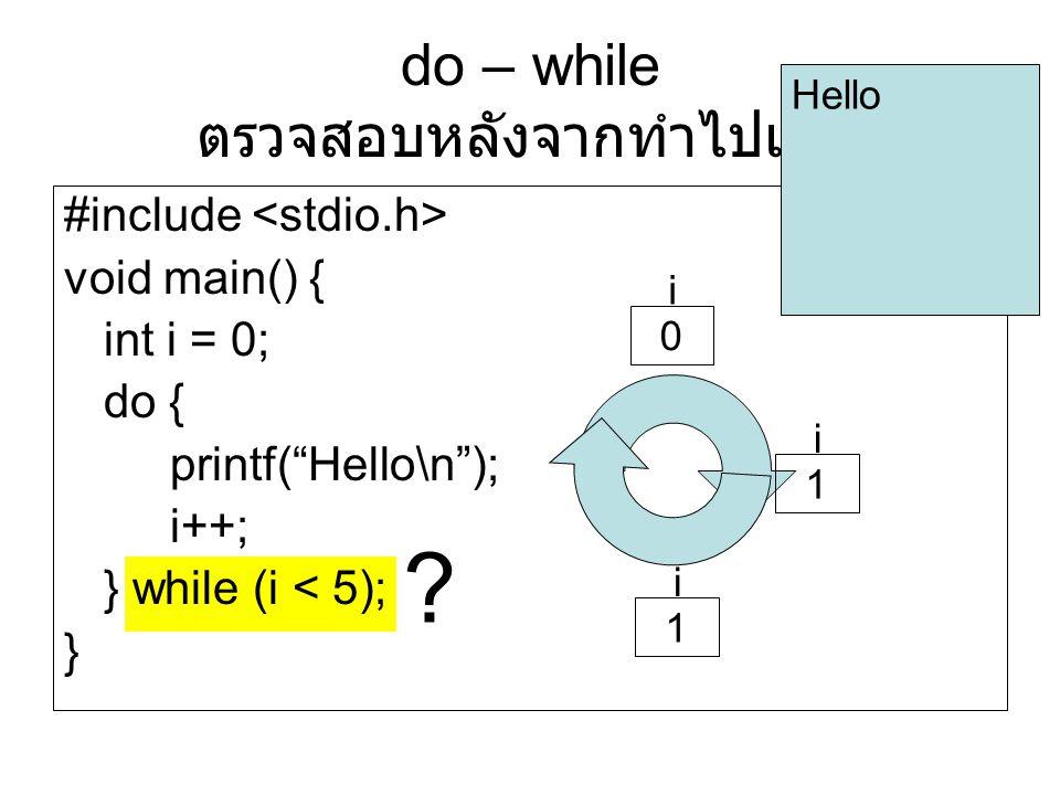 "? do – while ตรวจสอบหลังจากทำไปแล้ว #include void main() { int i = 0; do { printf(""Hello\n""); i++; } while (i < 5); } Hello i 0 i 1 i 1"