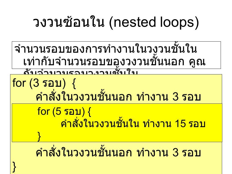 วงวนซ้อนใน (nested loops) จำนวนรอบของการทำงานในวงวนชั้นใน เท่ากับจำนวนรอบของวงวนชั้นนอก คูณ กับจำนวนรอบวงวนชั้นใน for (3 รอบ ) { คำสั่งในวงวนชั้นนอก ทำงาน 3 รอบ } for (5 รอบ ) { คำสั่งในวงวนชั้นใน ทำงาน 15 รอบ }