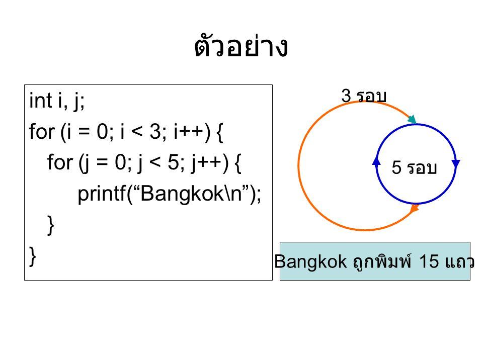 """ตัวอย่าง int i, j; for (i = 0; i < 3; i++) { for (j = 0; j < 5; j++) { printf(""""Bangkok\n""""); } } 3 รอบ 5 รอบ Bangkok ถูกพิมพ์ 15 แถว"""