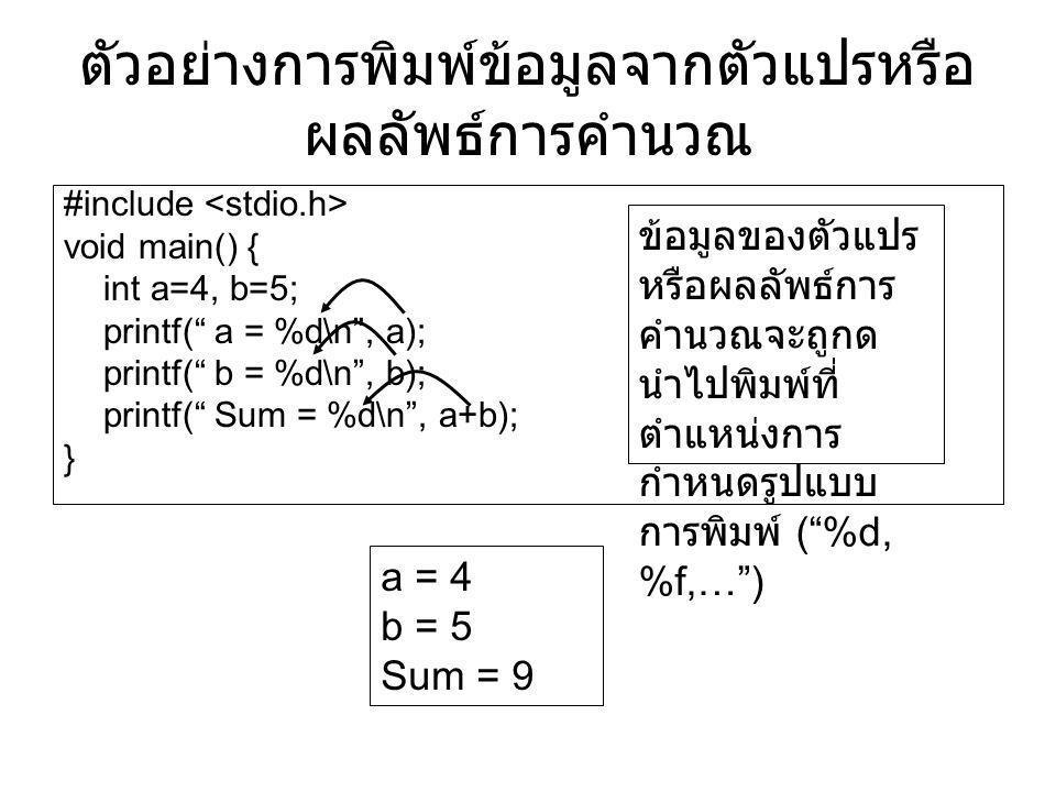 """ตัวอย่างการพิมพ์ข้อมูลจากตัวแปรหรือ ผลลัพธ์การคำนวณ #include void main() { int a=4, b=5; printf("""" a = %d\n"""", a); printf("""" b = %d\n"""", b); printf("""" Sum"""