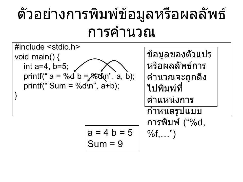 """ตัวอย่างการพิมพ์ข้อมูลหรือผลลัพธ์ การคำนวณ #include void main() { int a=4, b=5; printf("""" a = %d b = %d\n"""", a, b); printf("""" Sum = %d\n"""", a+b); } a = 4"""