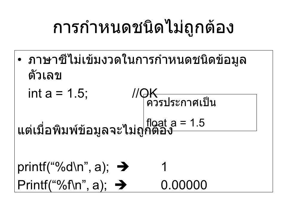 """การกำหนดชนิดไม่ถูกต้อง ภาษาซีไม่เข้มงวดในการกำหนดชนิดข้อมูล ตัวเลข int a = 1.5;//OK แต่เมื่อพิมพ์ข้อมูลจะไม่ถูกต้อง printf(""""%d\n"""", a);  1 Printf(""""%f\"""
