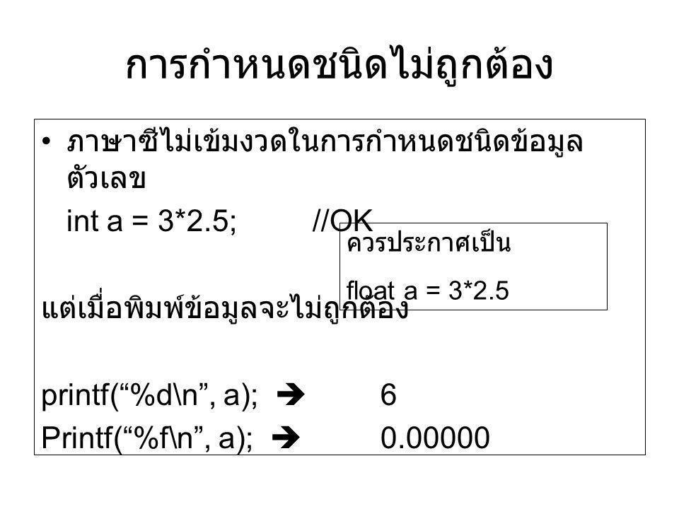 """การกำหนดชนิดไม่ถูกต้อง ภาษาซีไม่เข้มงวดในการกำหนดชนิดข้อมูล ตัวเลข int a = 3*2.5;//OK แต่เมื่อพิมพ์ข้อมูลจะไม่ถูกต้อง printf(""""%d\n"""", a);  6 Printf(""""%"""