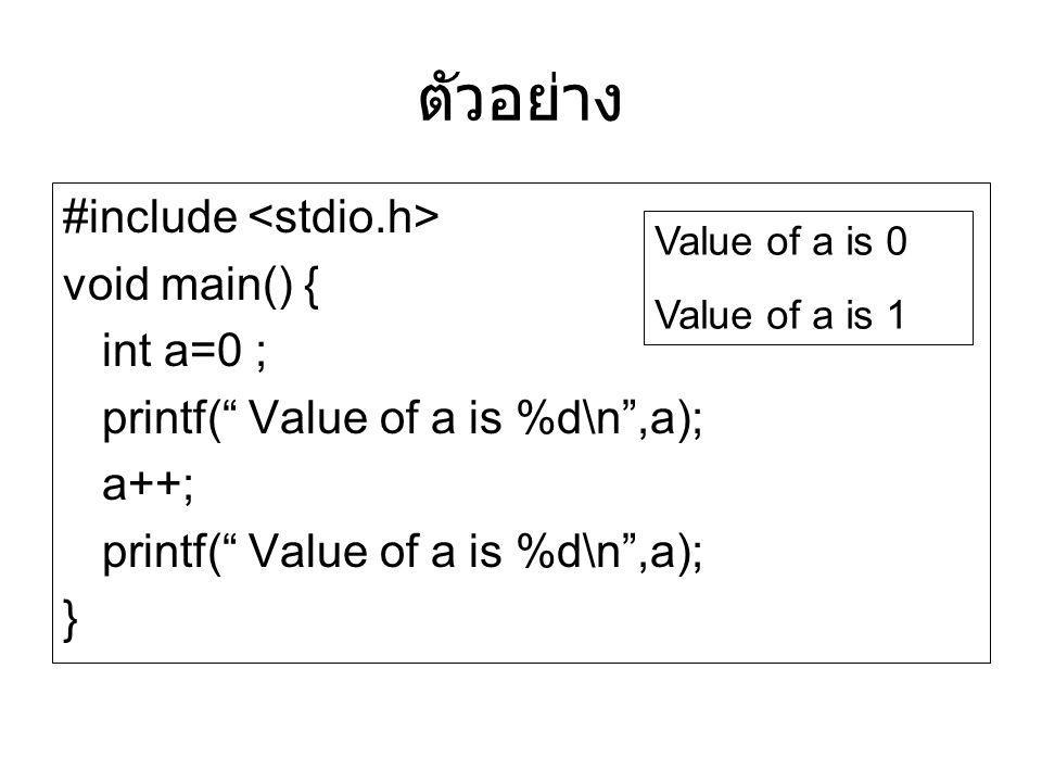 "ตัวอย่าง #include void main() { int a=0 ; printf("" Value of a is %d\n"",a); a++; printf("" Value of a is %d\n"",a); } Value of a is 0 Value of a is 1"