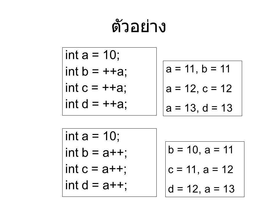 ตัวอย่าง int a = 10; int b = ++a; int c = ++a; int d = ++a; int a = 10; int b = a++; int c = a++; int d = a++; a = 11, b = 11 a = 12, c = 12 a = 13, d