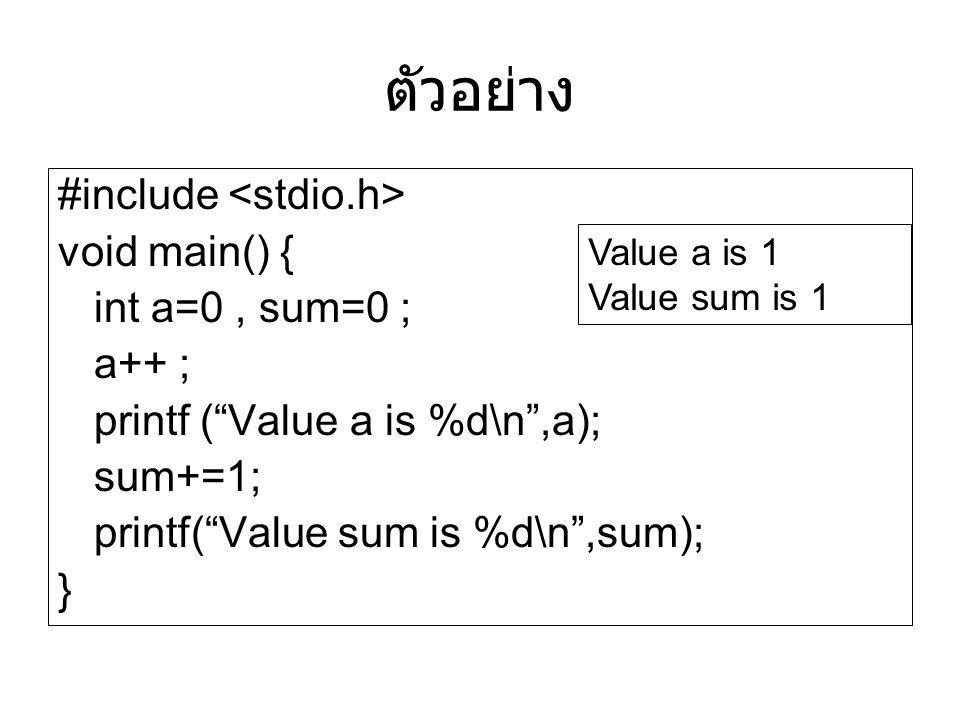 "ตัวอย่าง #include void main() { int a=0, sum=0 ; a++ ; printf (""Value a is %d\n"",a); sum+=1; printf(""Value sum is %d\n"",sum); } Value a is 1 Value sum"