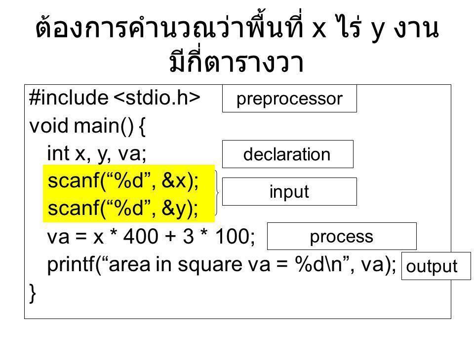"""ต้องการคำนวณว่าพื้นที่ x ไร่ y งาน มีกี่ตารางวา #include void main() { int x, y, va; scanf(""""%d"""", &x); scanf(""""%d"""", &y); va = x * 400 + 3 * 100; printf("""