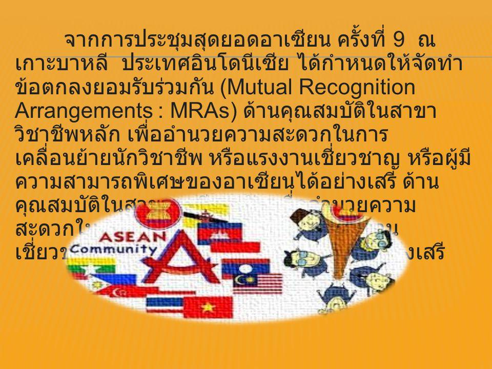จากการประชุมสุดยอดอาเซียน ครั้งที่ 9 ณ เกาะบาหลี ประเทศอินโดนีเซีย ได้กำหนดให้จัดทำ ข้อตกลงยอมรับร่วมกัน (Mutual Recognition Arrangements : MRAs) ด้าน