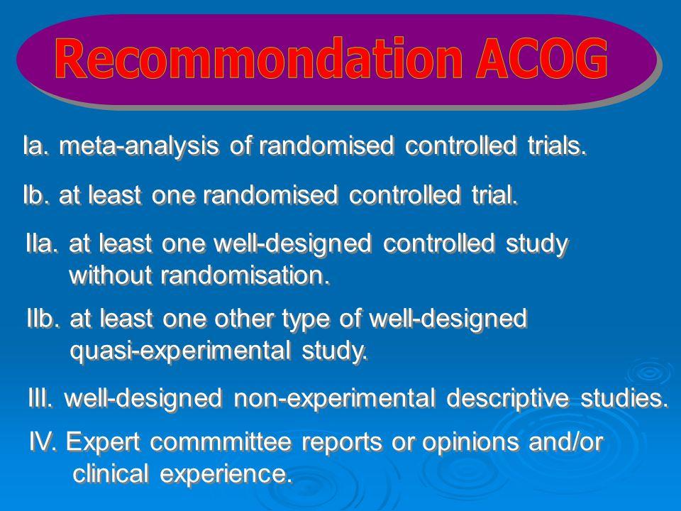 Ia. meta-analysis of randomised controlled trials. Ib. at least one randomised controlled trial. IIa. at least one well-designed controlled study with