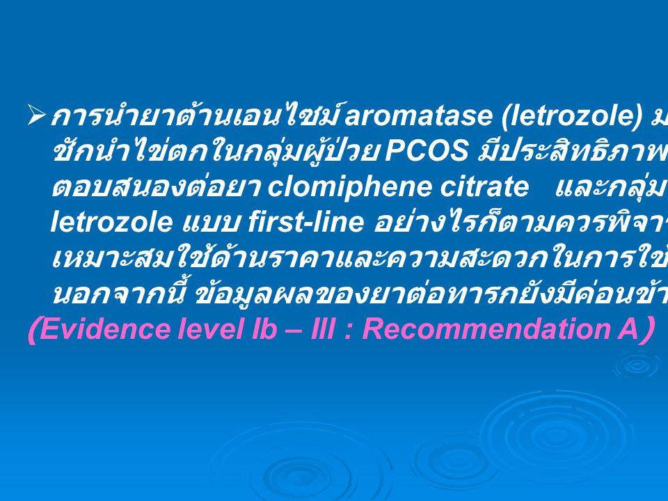  การนำยาต้านเอนไซม์ aromatase (letrozole) มาใช้ในการ ชักนำไข่ตกในกลุ่มผู้ป่วย PCOS มีประสิทธิภาพดี ทั้งในกลุ่มที่ไม่ ตอบสนองต่อยา clomiphene citrate
