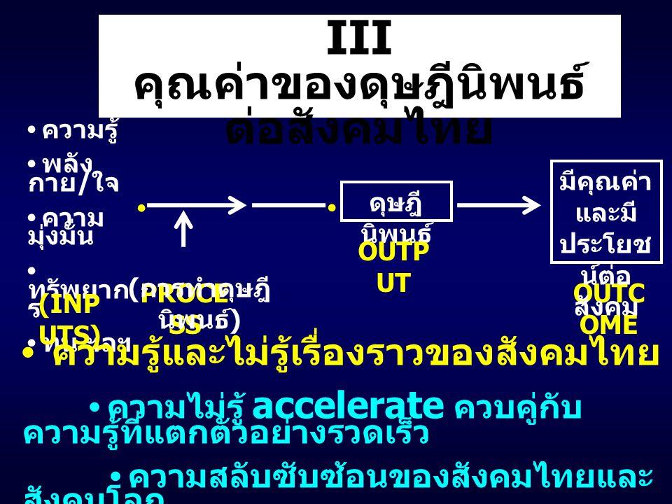 ความรู้ พลัง กาย / ใจ ความ มุ่งมั่น ทรัพยาก ร ทุน ฯลฯ III คุณค่าของดุษฎีนิพนธ์ ต่อสังคมไทย PROCE SS ( การทำดุษฎี นิพนธ์ ) (INP UTS) ดุษฎี นิพนธ์ OUTC OME มีคุณค่า และมี ประโยช น์ต่อ สังคม OUTP UT ความรู้และไม่รู้เรื่องราวของสังคมไทย ความไม่รู้ accelerate ควบคู่กับ ความรู้ที่แตกตัวอย่างรวดเร็ว ความสลับซับซ้อนของสังคมไทยและ สังคมโลก