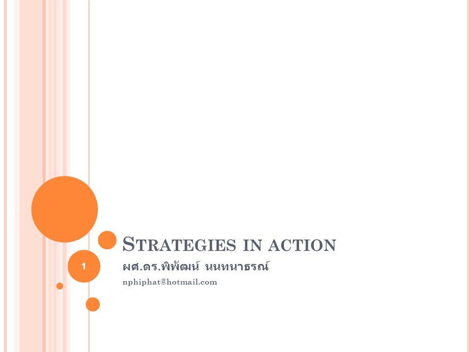 วัตถุประสงค์ระยะยาว การบริหารโดยไม่ตั้งวัตถุประสงค์ ชนิดของกลยุทธ์ กลยุทธ์การรวมตัวแบบครบวงจร กลยุทธ์การควบแน่น กลยุทธ์การป้องกัน วิธีการบรรลุกลยุทธ์ การจัดการกลยุทธ์ในองค์กรที่ไม่แสวงหากำไรและองค์กรรัฐบาล 2