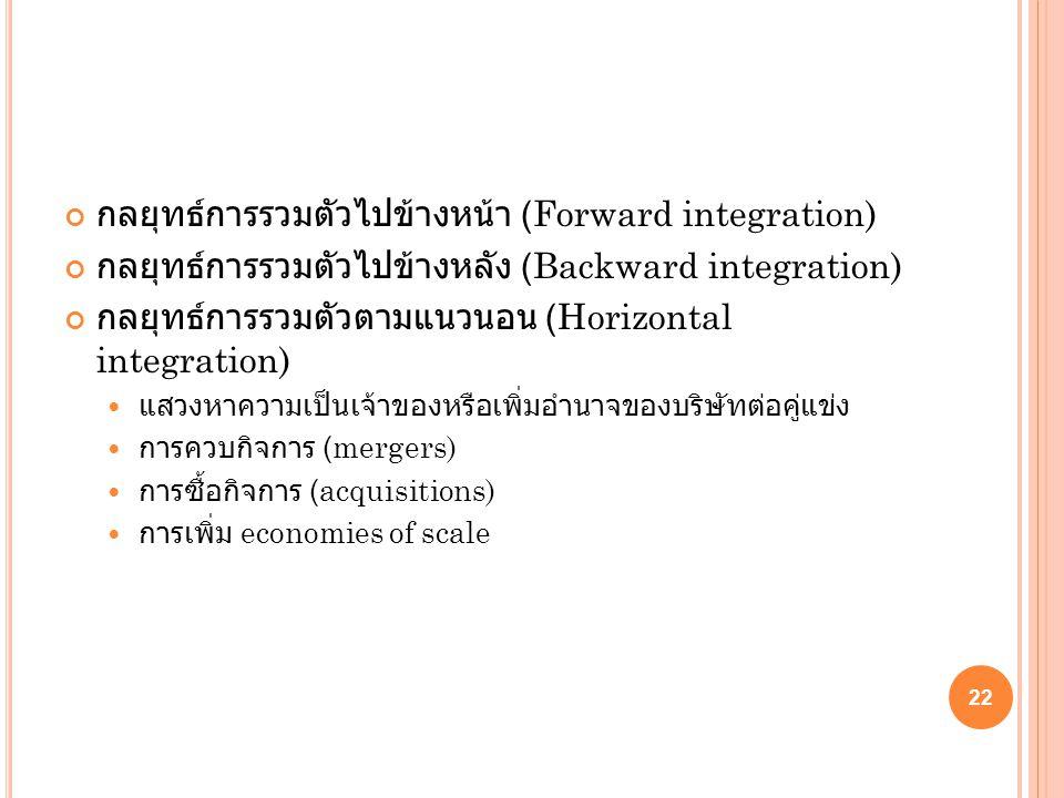 กลยุทธ์การรวมตัวไปข้างหน้า (Forward integration) กลยุทธ์การรวมตัวไปข้างหลัง (Backward integration) กลยุทธ์การรวมตัวตามแนวนอน (Horizontal integration)