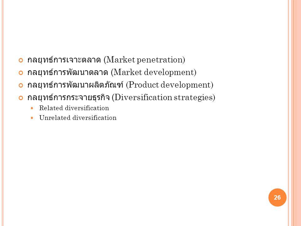 กลยุทธ์การเจาะตลาด (Market penetration) กลยุทธ์การพัฒนาตลาด (Market development) กลยุทธ์การพัฒนาผลิตภัณฑ์ (Product development) กลยุทธ์การกระจายธุรกิจ