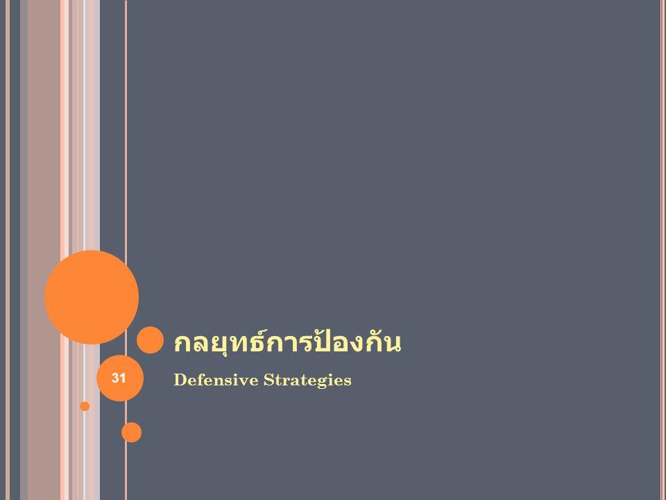 กลยุทธ์การป้องกัน Defensive Strategies 31