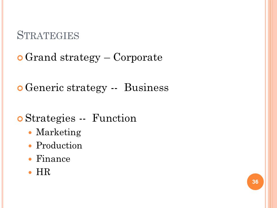 S TRATEGIES Grand strategy – Corporate Generic strategy -- Business Strategies -- Function Marketing Production Finance HR 36