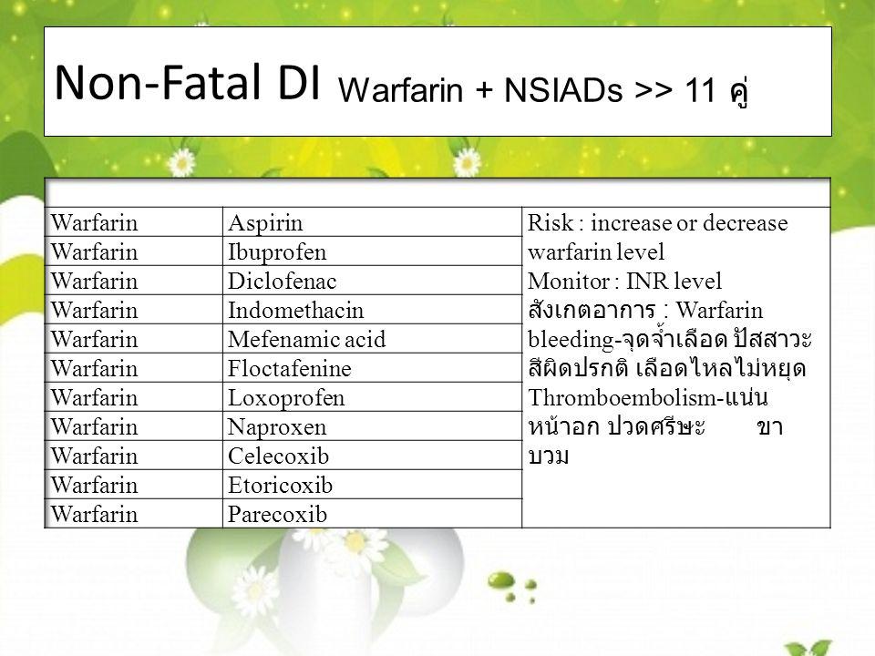 Non-Fatal DI Warfarin + NSIADs >> 11 คู่