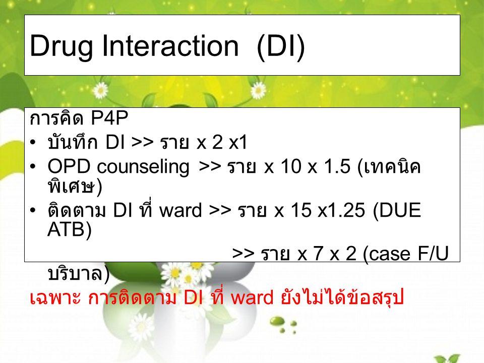 Drug Interaction (DI) การคิด P4P บันทึก DI >> ราย x 2 x1 OPD counseling >> ราย x 10 x 1.5 ( เทคนิค พิเศษ ) ติดตาม DI ที่ ward >> ราย x 15 x1.25 (DUE ATB) >> ราย x 7 x 2 (case F/U บริบาล ) เฉพาะ การติดตาม DI ที่ ward ยังไม่ได้ข้อสรุป