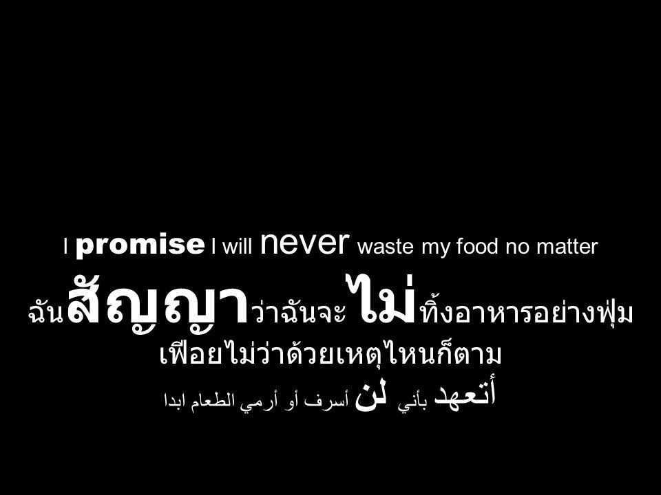 I promise I will never waste my food no matter ฉัน สัญญา ว่าฉันจะ ไม่ ทิ้งอาหารอย่างฟุ่ม เฟีอยไม่ว่าด้วยเหตุไหนก็ตาม أتعهد بأني لن أسرف أو أرمي الطعام