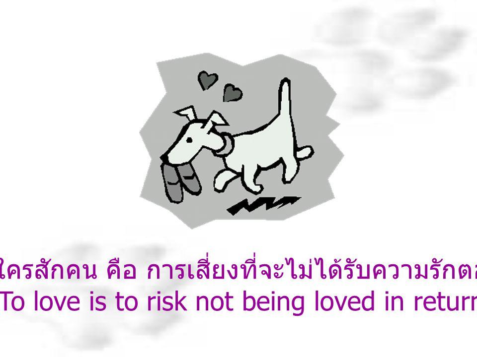 การรักใครสักคน คือ การเสี่ยงที่จะไม่ได้รับความรักตอบแทน To love is to risk not being loved in return