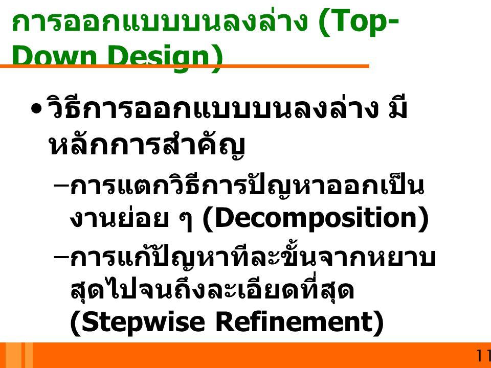 การออกแบบบนลงล่าง (Top- Down Design) 11 วิธีการออกแบบบนลงล่าง มี หลักการสำคัญ – การแตกวิธีการปัญหาออกเป็น งานย่อย ๆ (Decomposition) – การแก้ปัญหาทีละข