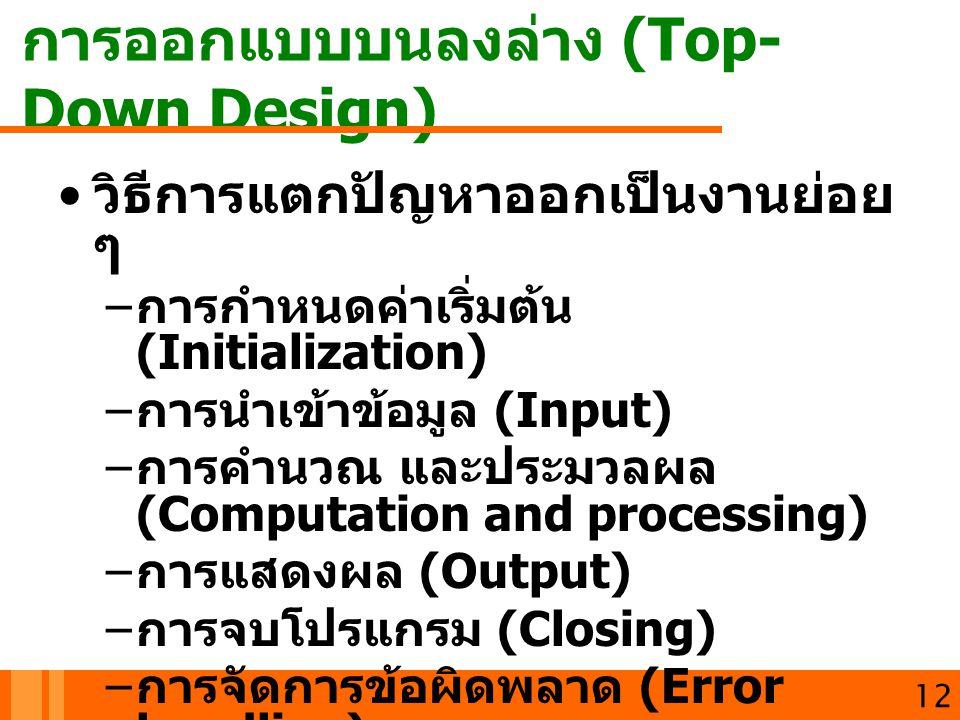 การออกแบบบนลงล่าง (Top- Down Design) 12 วิธีการแตกปัญหาออกเป็นงานย่อย ๆ – การกำหนดค่าเริ่มต้น (Initialization) – การนำเข้าข้อมูล (Input) – การคำนวณ แล