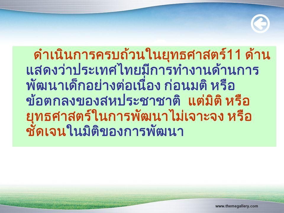 www.themegallery.com ดำเนินการครบถ้วนในยุทธศาสตร์11 ด้าน แสดงว่าประเทศไทยมีการทำงานด้านการ พัฒนาเด็กอย่างต่อเนื่อง ก่อนมติ หรือ ข้อตกลงของสหประชาชาติ