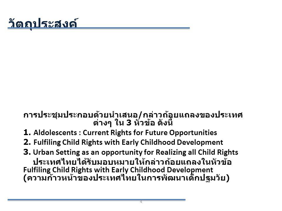 วัตถุประสงค์ 4 การประชุมประกอบด้วยนำเสนอ / กล่าวถ้อยแถลงของประเทศ ต่างๆ ใน 3 หัวข้อ ดังนี้ 1. Aldolescents : Current Rights for Future Opportunities 2