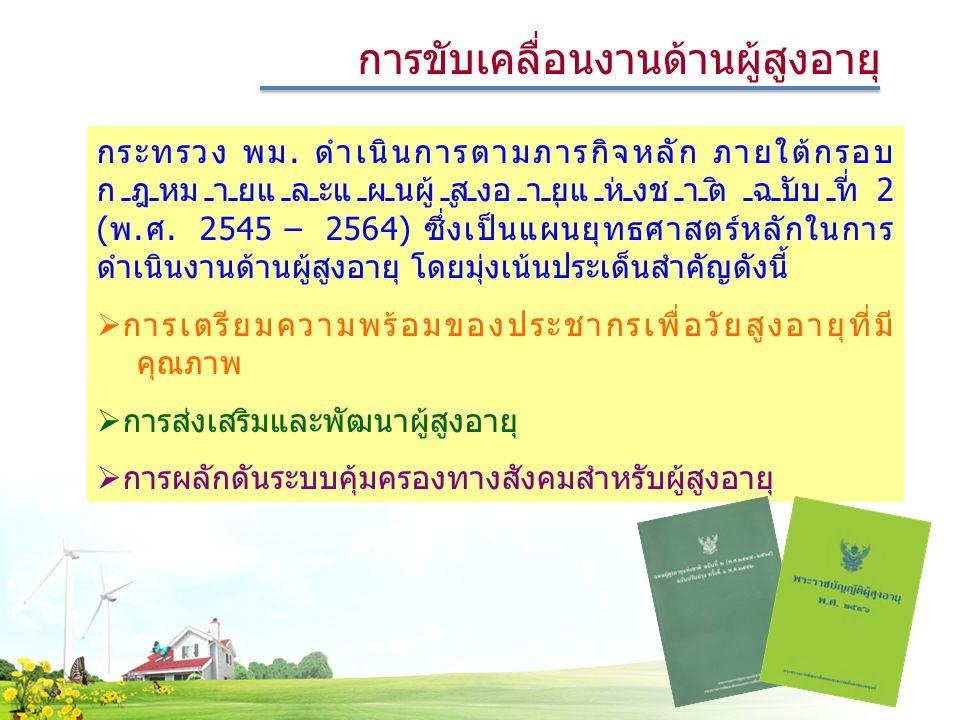 การขับเคลื่อนงานด้านผู้สูงอายุ กระทรวง พม. ดำเนินการตามภารกิจหลัก ภายใต้กรอบ กฎหมายและแผนผู้สูงอายุแห่งชาติ ฉบับที่ 2 (พ.ศ. 2545 – 2564) ซึ่งเป็นแผนยุ