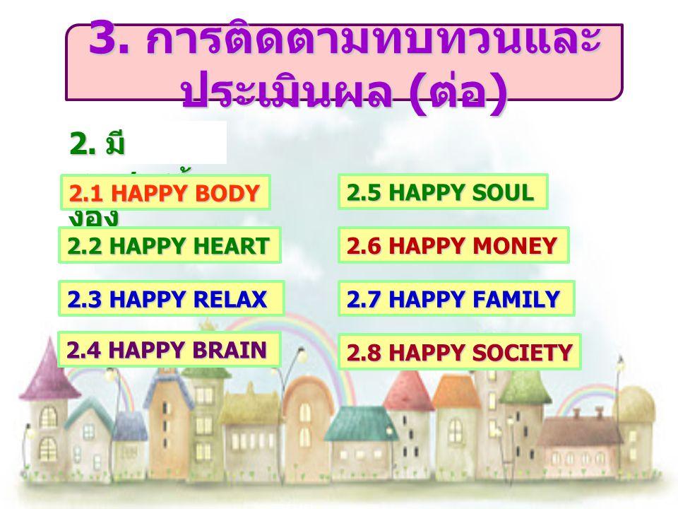2. มี เอกสารอ้า งอิง 2.1 HAPPY BODY 2.2 HAPPY HEART 2.3 HAPPY RELAX 2.4 HAPPY BRAIN 2.5 HAPPY SOUL 2.6 HAPPY MONEY 2.7 HAPPY FAMILY 2.8 HAPPY SOCIETY