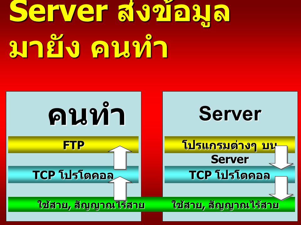 Server ส่งข้อมูล มายัง คนทำ FTP TCP โปรโตคอล ใช้สาย, สัญญาณไร้สาย โปรแกรมต่างๆ บน Server TCP โปรโตคอล ใช้สาย, สัญญาณไร้สาย คนทำ Server