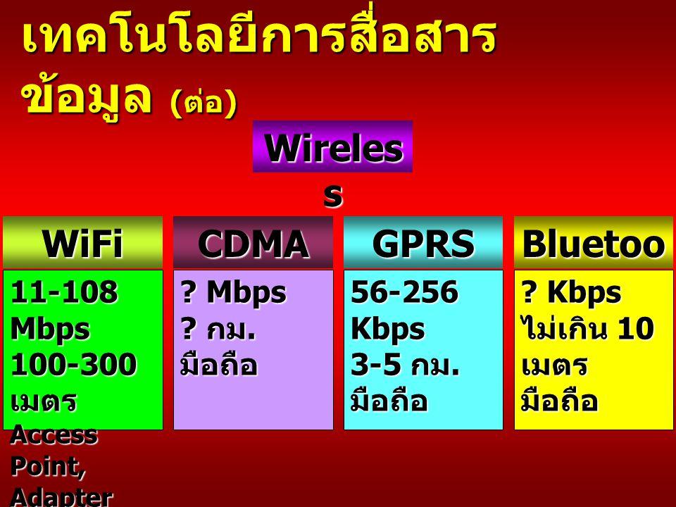 Wireles s WiFi 11-108 Mbps 100-300 เมตร Access Point, Adapter Card GPRS Bluetoo th 56-256 Kbps 3-5 กม.