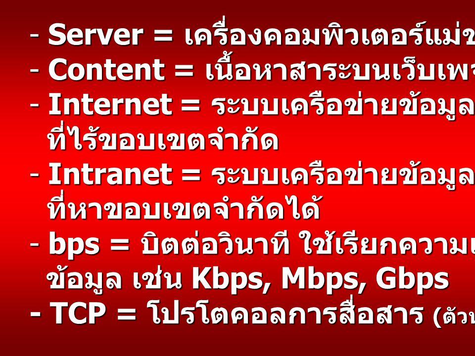 - Server = เครื่องคอมพิวเตอร์แม่ข่าย - Content = เนื้อหาสาระบนเว็บเพจ - Internet = ระบบเครือข่ายข้อมูลคอมพิวเตอร์ ที่ไร้ขอบเขตจำกัด - Intranet = ระบบเครือข่ายข้อมูลคอมพิวเตอร์ ที่หาขอบเขตจำกัดได้ ที่หาขอบเขตจำกัดได้ - bps = บิตต่อวินาที ใช้เรียกความเร็วในการขนถ่าย ข้อมูล เช่น Kbps, Mbps, Gbps ข้อมูล เช่น Kbps, Mbps, Gbps - TCP = โปรโตคอลการสื่อสาร ( ตัวหนึ่งในอีกหลายๆ ตัว )