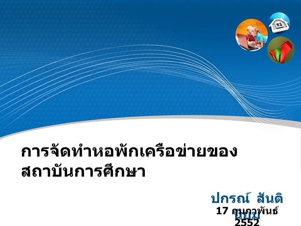 การจัดทำหอพักเครือข่ายของ สถาบันการศึกษา ปกรณ์ สันติ นิยม 17 กุมภาพันธ์ 2552