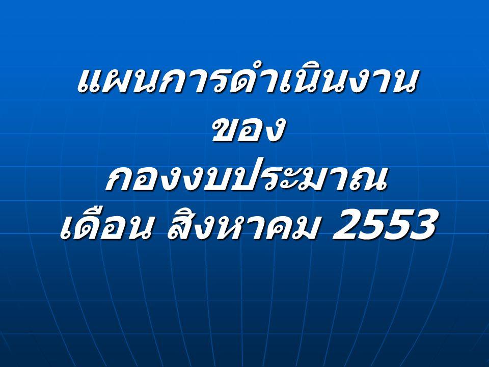 แผนการดำเนินงาน ของ กองงบประมาณ เดือน สิงหาคม 2553